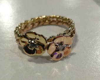 14k rose & yellow gold .01 diamond flower ring size 5