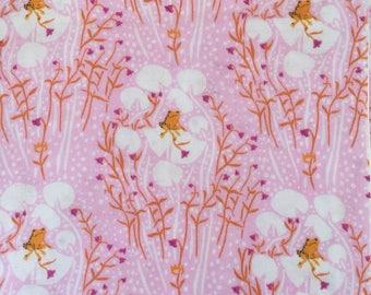 Heather Ross Far Far Away Kokka frog prince pink cotton double gauze 1/2 yard