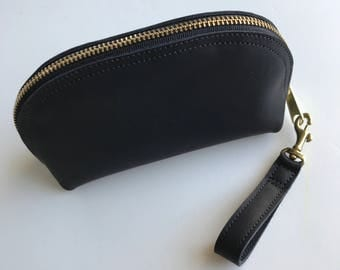 Leather Zip Pouch, Black Leather Pouch, Small Leather Zip Pouch, Leather bag, Leather makeup bag, leather clutch,  black makeup bag, zip bag
