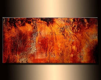 Abstract painting, Contemporary Modern Metallic Gold Fine Art, Canvas Art, by Henry Parsinia 48x24