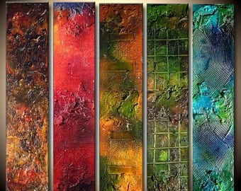Textured Abstract Colorful painting Contemporary Fine Art by Henry Parsinia Large 36x40x1.58