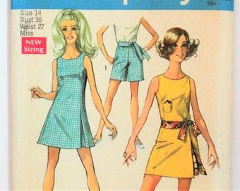 1960s Mini dress pattern, shorts pattern, sash, sleeveless dress, retro uncut, vintage sewing pattern  Simplicity 8249 size 14 bust 34