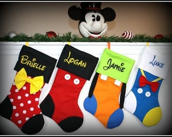 SET OF 5!! - Disney Character Inspired Personalized Embroidered Mickey Minnie Goofy Donald Daisy Tinkerbell Pluto