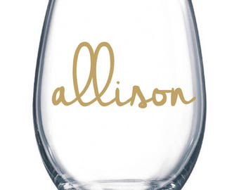 DIY Personalized Name Wine Glass Kit for 25 Glasses Wedding Party * Decals * Bride * Bridal Party * Rehearsal Dinner * Easy Project Save