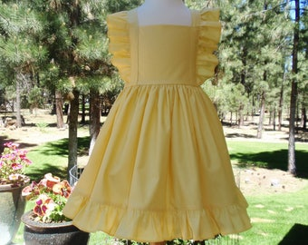 Girl Toddler Yellow Dress - Girls Flutter Sleeve Dress - Flower Girl Dress - 1st Birthday Dress - Twirl Dress - Ruffles - Available in Mint