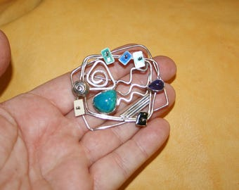 Steampunk Industrial Modernist Multi-Gemstone Brooch plus Free USA Shipping!