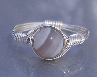 25% Off Sale Gray Lace Agate Ring, Custom Sized Ring, Argentium Sterling Silver Ring, Wire Wrapped Ring