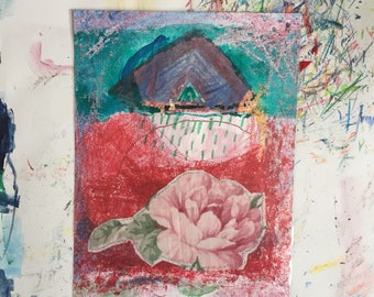 Original Mixed Media Drawing On Paper Of The Rose Garden