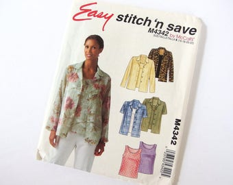 UNCUT Sewing Pattern for Shirt and Shell Top, McCall's 4342, Sizes 16, 18, 20, 22, Bust 38 - 44