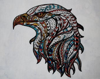 Mystic Bald Eagle Large Embroidered Quilt Fabric Block