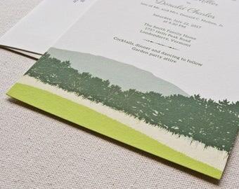 Mountain Landscape Wedding Invitation, Digital printed SAMPLE