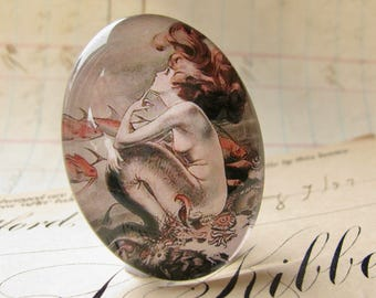 Mermaid cabochon, comic book print, handmade glass oval, 40x30 30x40, vintage cartoon drawing, from our Magical Maidens collection