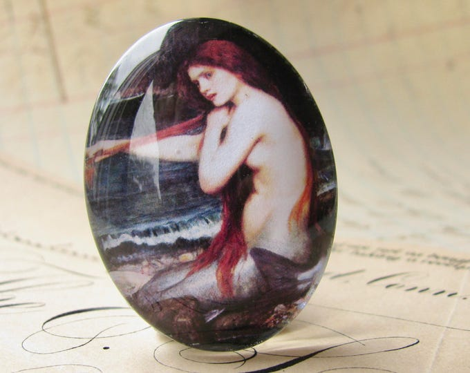 "25x18mm glass oval cabochon, handmade in this shop ""A Mermaid"" by John William Waterhouse, fine art cabochon, Magical Maidens collection"