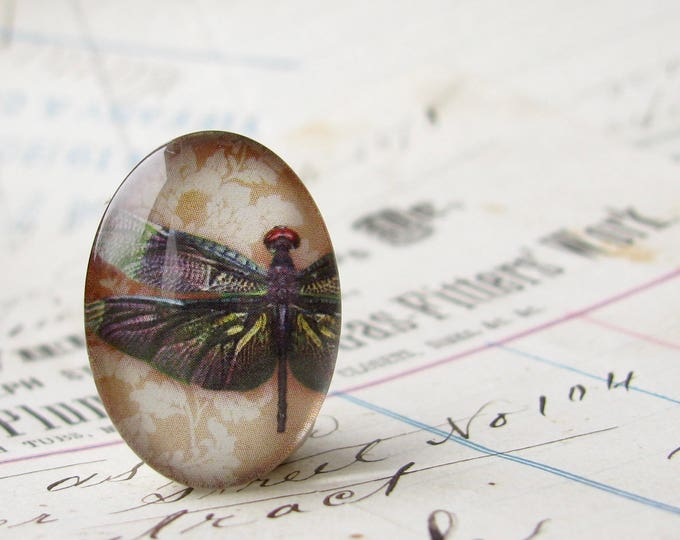 Dark wine dragonfly, 25x18mm glass oval cabochon, iridescent, handmade in this shop, insect, bug, garden, Winged Wonders collection