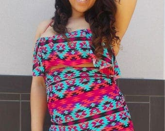 Tori Ruffle Top in Bright New Aztec Print with  Super High Waist Bottoms Plus Size
