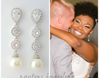 Pearl Drop Bridal Earrings, Wedding Pearl Jewelry, Cubic Zirconia, White Pearl Earrings, Silver, Wedding Earrings, Kaitlyn