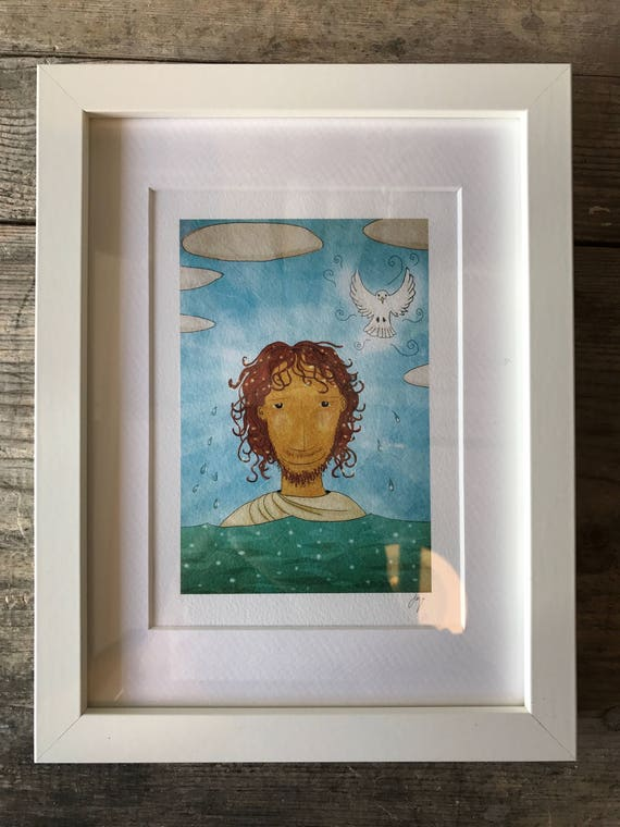 SALE! JSB Jesus and Dove - Small Framed Print
