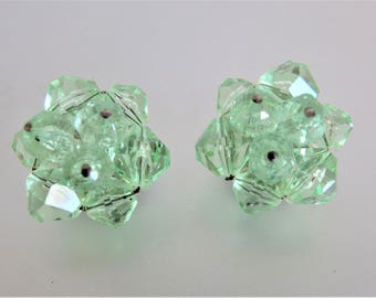 Vintage Green Faceted Glass Wired Cluster Earrings Western Germany