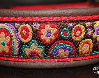Dog Collar Flower Power by dogs-art for Boy/Girl Dog. Can be made into a Buckle or Martingale Collar, floral dog collar, leather dog collar