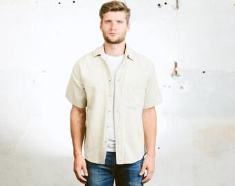 Vintage Linen Shirt . Men's 90s Cotton Shirt Button Beige Down Flax Shirt 90s  Linen Top Summer Shirt Boyfriend Gift Normcore . size Small