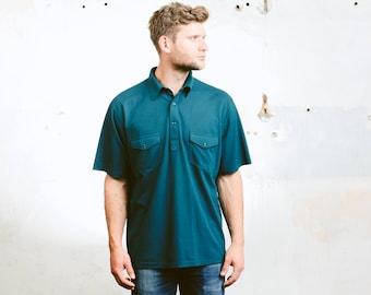 Men Polo Shirt . Vintage Rocabilly Shirt Golf Tennis T-shirt Short Sleeve Shirt Teal Blue Shirt Hipster Outfit . size Large