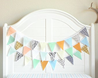 Fabric Bunting, Boy Baby Shower Banner, Bunting Garland, Mint and Arrows, Boy Nursery Decor, Bunting Banner, Mint and Gold Nursery, Tee Pee