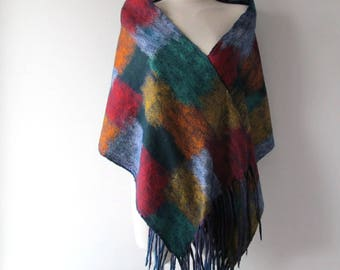 Felted scarf, colorful Wool felt scarf fringe scarf rainbow felted scarf Blue Wool scarf geometric felted scarf long wool scarf by Galafilc
