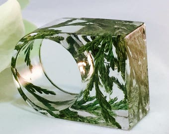 Resin Ring, Size 7, Natural Evergreen, Modern Statement Ring, Accessory