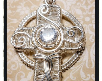 Woven Celtic Cross with White Sapphire