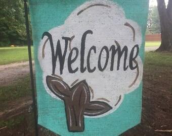 Welcome or Initial Cotton Boll on Aqua Blue Background Summer Fall Burlap Yard Garden Flag