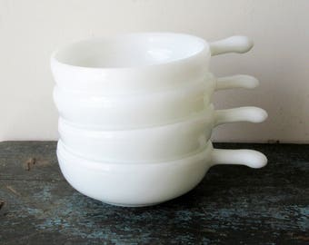 Milk Glass Bowls with Handles 11 oz Set of 4