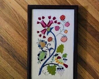 SALE 35% OFF 1960s Floral Bird Needlepoint Art • 60s Art Piece
