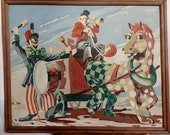 Vintage Circus Wagon with Clowns Framed Paint by Number Painting