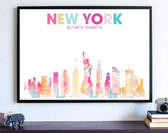 New York Skyline Silhouette Poster, Empire State Building, NYC Dorm Room Decoration, Manhattan Skyline Wall Art, Cityscape Office Art Print