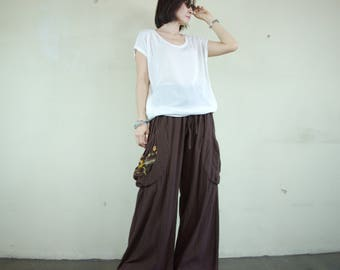 Look At Me Now...Simply Wide Legs Dark Brown Cotton Pants With Floral Hand Embroidered Detail On Right Pocket