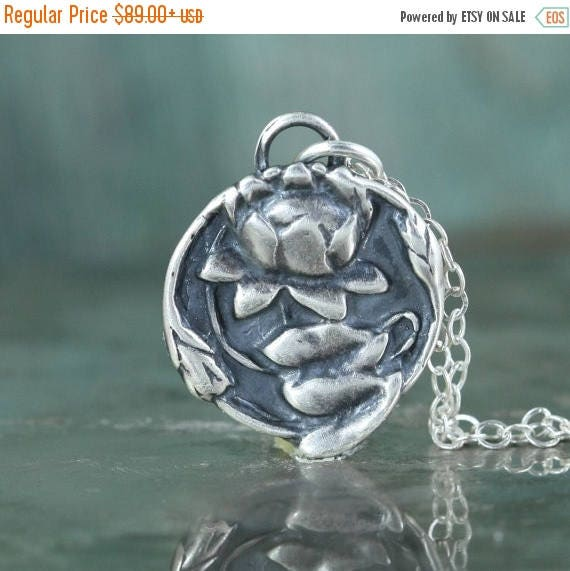 SUMMER SALE Lotus Necklace,  Buddhist Jewelry,  Sterling Silver