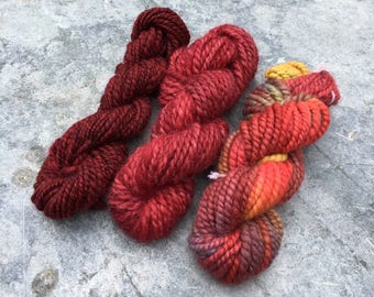 Handspun Mini Yarn Pack / Weaving Pack / Knitting Pack - Luscious Red - 77 grams - 48 yards