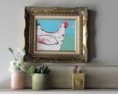"framed print - quirky animal art  - ""Esther "" - free range chicken -wall art - decorative artwork"