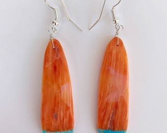Shell and Turquoise Drop Earrings