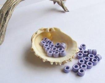 25%OFF Mykonos Greek Ceramic Mini Tube Beads Rare color 30 light purple 6X4mm Mykonos Beads Spring Sewing scrapbooking supplies DIY