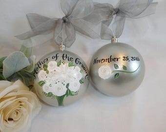 Hand Painted Wedding Ornaments, Personalized Mother of the Bride Ornament, Bridesmaid Ornaments, EXACT REPLICA of Your FLOWERS, Bridal Gifts