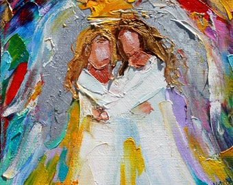 Angel Hugs painting original oil 6x6 palette knife impressionism on canvas fine art by Karen Tarlton