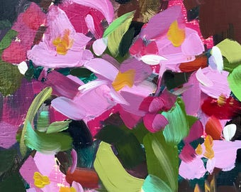 Pink Begonias no. 2 Original Floral Oil Painting by Angela Moulton pre-order