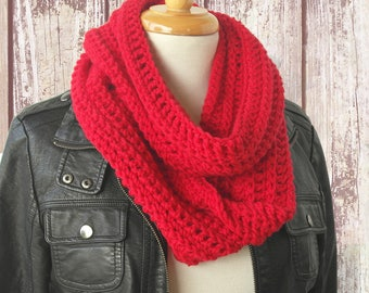 Red Crochet Infinity Scarf - Red Knit Scarves - Pure Wool Winter Loop Scarf - Unisex Scarf