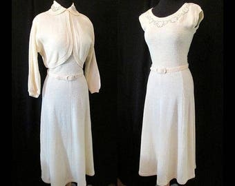 """Dreamy 1940's Two Piece Knit Dress with Beading and Matching Belt by """"lass o'Scotland"""" for Flair Knit Size Medium"""