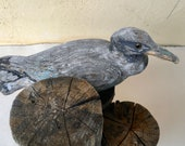 Vintage Rustic Hand Carved Shorebird on Weathered Wood Pylons- Garden Ornament