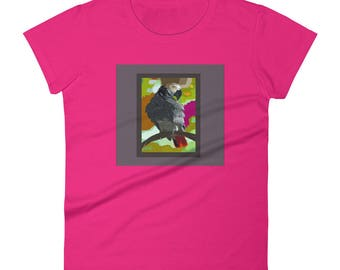 African Grey Parrot sits amongst Vivid Jeweltones- Women's short sleeve t-shirt
