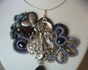 embroidered with soutache, silk and stone necklace