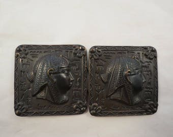 Vintage Relief Egyptian Revival King Tut Pharaoh Belt Buckle