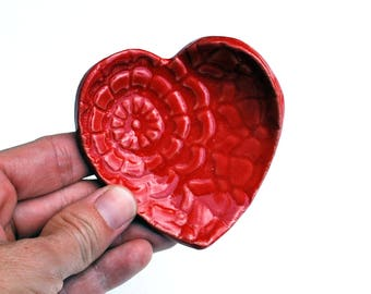 Red Heart Ring Dish - Coffee Spoon Rest - Ceramic, Pottery, Handmade- Jewelry Dish, Bridesmaid Gift, Tea Bag Rest, Gifts for Her, Under 10